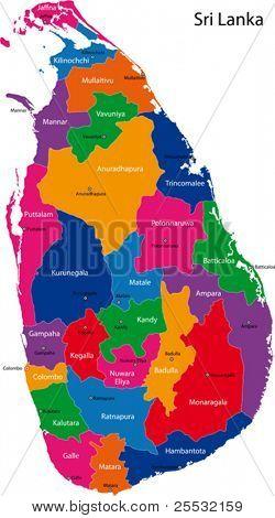 Karte von der Demokratischen Sozialistischen Republik Sri Lanka mit den Distrikten farbig in leuchtenden Farben