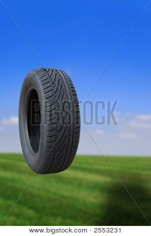 Tyre Bouncing Focus On Tyre