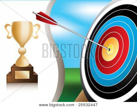 Illustration of archery target and gold trophy