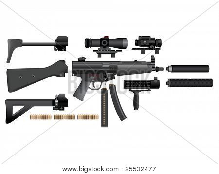 Submachine gun heckler mp5 accessories