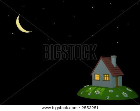 3D House On A Hill, On A Background Of The Night Sky