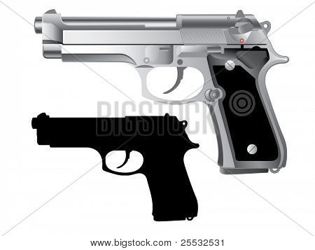 silver handgun isolated