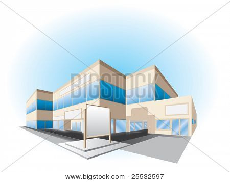 Vector illustration of shopping center building
