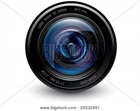 Lente de la cámara azul