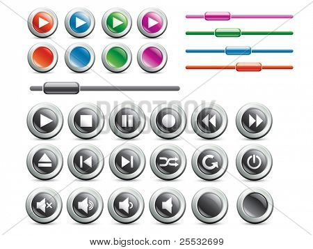 Set of media player buttons