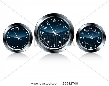 Vector of chrome wall clock