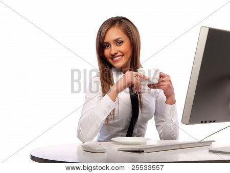 Girl Works At The Computer