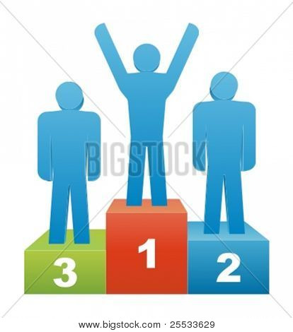 Three people in the winners podium. Second Place. First Place. Third Place