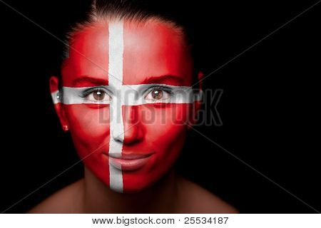 Portrait of a woman with the flag of the Denmark