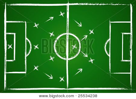 Football teamwork strategy. Illustration game. Vector background.