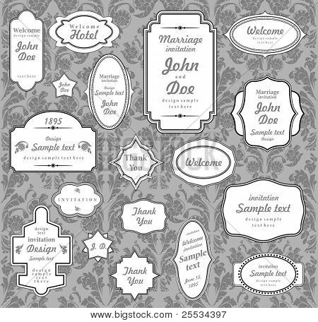 Set of ornate vector frames and ornaments with sample text. Perfect collection for invitation.