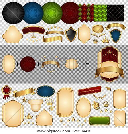 Gold-gerahmte Etikett Teile. Retro-Design-Bänder, Rahmen, Kronen, Strudel, Etiketten, Aufkleber und andere el