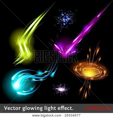 Vector glowing light effect set. Sparkling design element collection.