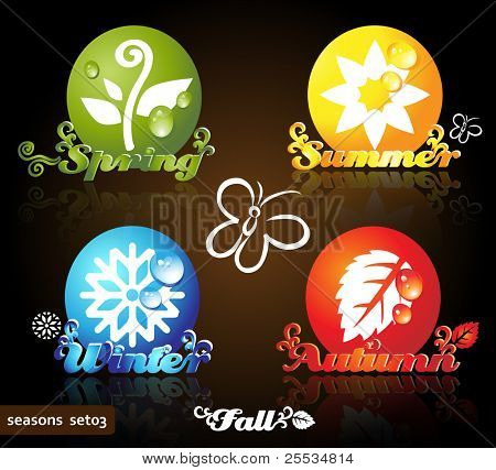 Colorful seasons icons, glossy floral design, dark background