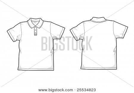 weißes Polo Shirt hinten und vorne