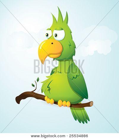 grüne Cartoon Papagei auf dem Zweig