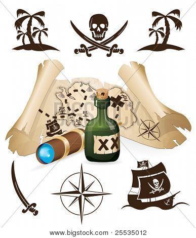 Treasure map, pirate collection