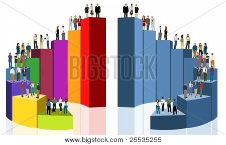 group of business people over chart