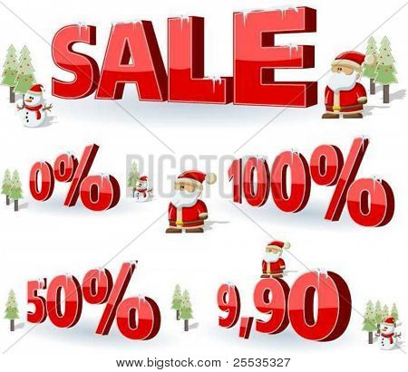 Xmas sale. christmas background with santa and snowman.