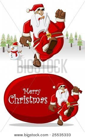 Santa-Claus running on Christmas time