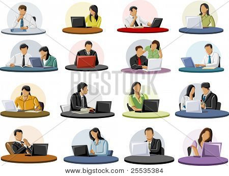 Group of business and office people on table