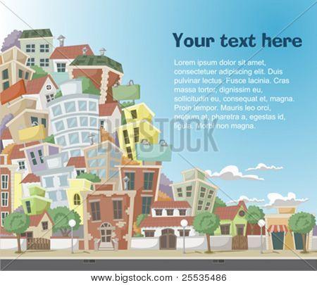 Ilustración de vector de una ciudad con coloridos árboles y edificios