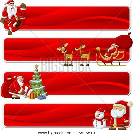 Christmas banners with Santa-Claus