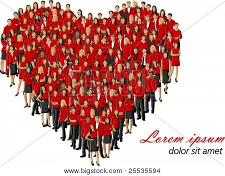 group of people wearing red clothes forming a big heart