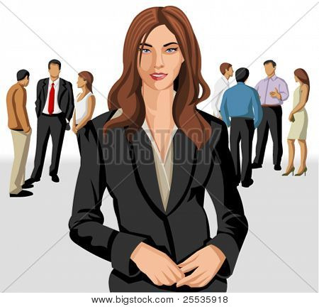 Business woman wearing suit with office people on the background