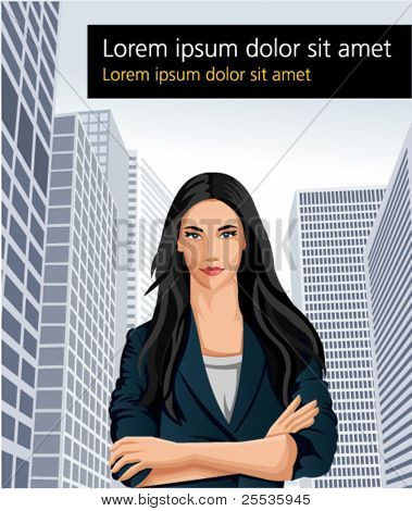 Template of a business woman wearing blue suit with office buildings on  the background