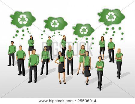 Ilustração de eco de um grupo de pessoas em roupas verdes e ícone de reciclagem
