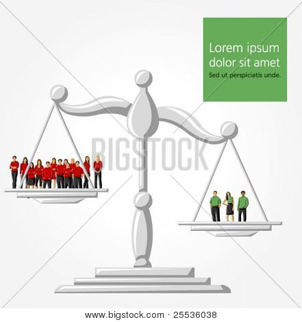 Template of a group people on scale