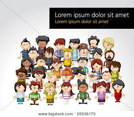 Plantilla de un grupo de personas de dibujos animados Graciosos