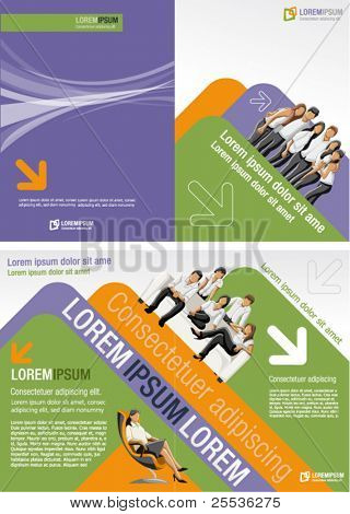 Purple, orange and green template for advertising brochure with business people