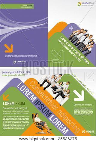 Lila, orange und grün Vorlage für Werbebroschüre mit Geschäftsleute