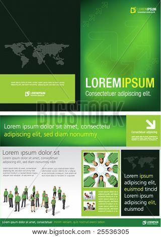 Verde modelo de folheto de propaganda com pessoas de negócios