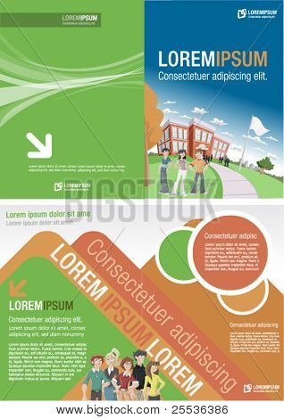 Orange and green template for advertising brochure with students in front of  school