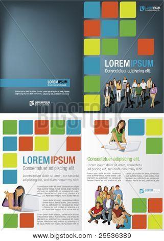 Plantilla colorido para el folleto de publicidad con los estudiantes