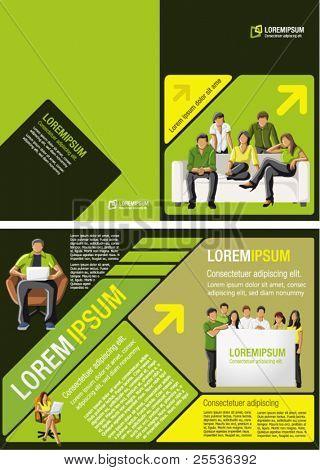 Plantilla amarilla, verde y negra para el folleto de publicidad con los estudiantes