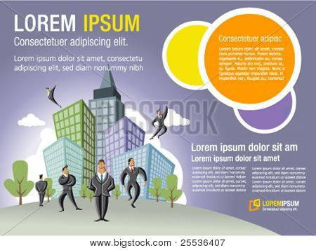 Template for advertising brochure with businessmen over city with buildings