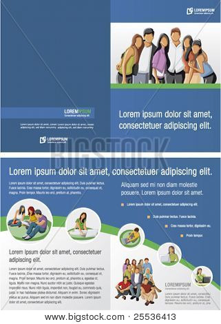 Blue and green template for advertising brochure with students