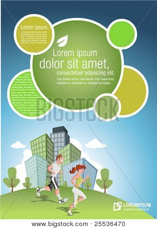 Template for advertising brochure with couple jogging in the city park