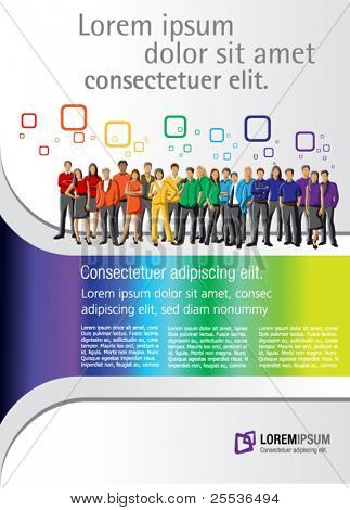 Colorful template for advertising brochure with rainbow colors people