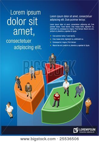 Blue template for advertising brochure with business people over chart