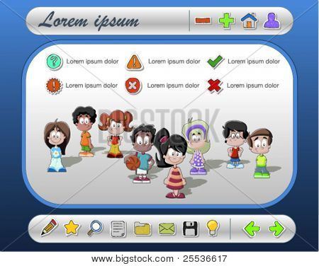 Template/ interface with children and Website icons