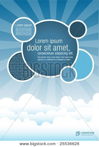 Blue template for advertising brochure with clouds on the sky