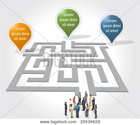 Labyrinth / maze concept with business people