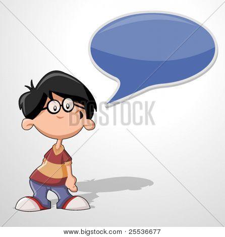 Cartoon boy wearing glasses talking