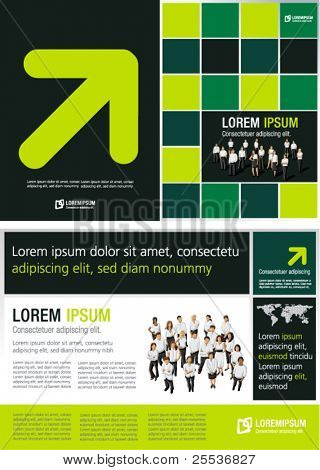 Green lime and black template for advertising brochure with business people