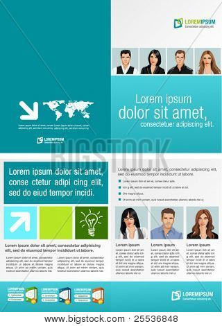 Green and Blue template for advertising brochure with business people